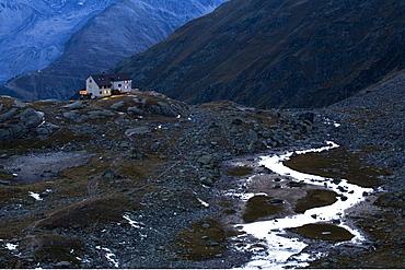 Duesseldorferhuette mountain hut, Ortler mountain range, Stelvio National Park, South Tyrol, Italy, Europe