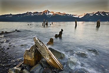 Coast, old pier, evening mood, Seward, Alaska, USA