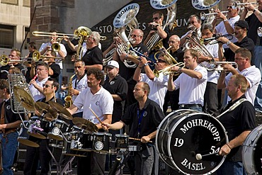 Mohrekopf Cathedral, Guggen music, musicians, Barfuesserplatz Square, Basel, Switzerland