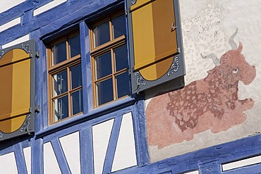 Timbered house with cattle painted on the front, Old Town, Arbon, Canton Thurgau, Lake Constance, Switzerland