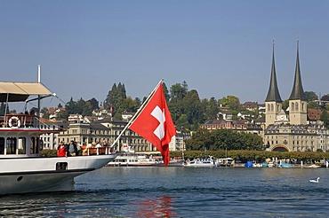 Excursion boat on Vierwaldstaetter Lake, Lucerne, Switzerland
