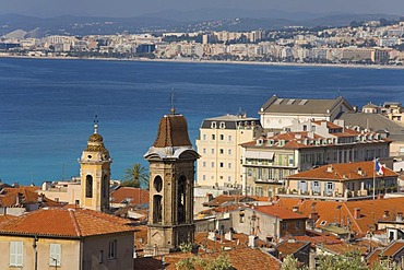 View of the historic town overlooking the sea from the castle hill, skyline, panorama, Nice, Cote d'Azur, France