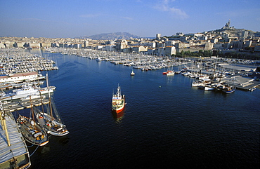 Sailing boats, old harbour, Vieux Port, Marseille, Provence, France, Europe