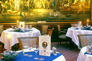 Dining hall of the restaurant Le Crocodile, gourmet restaurant of Monique and Emila Jung, Strasbourg, Alsace, France, Europe