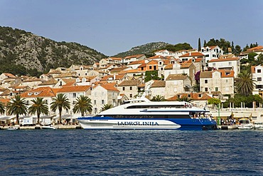 Cityscape of Hvar and a ferry, cruiser, Hvar Island, Adriatic Sea, Dalmatia, Croatia, Europe
