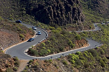 Bendy road, discovering the island by car, Grand Canary, Canary Islands, Spain, Europe