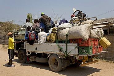 Shared taxi, fully loaded truck, Cape Maclear Peninsula, Lake Malawi, Malawi, South East Africa