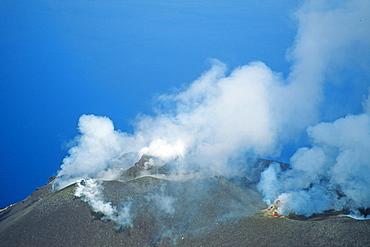 Volcanic landscape at the summit, Stromboli vulcano, Aeolian Islands, Italy, Europe