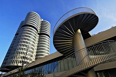 BMW towers, four cylinders and spiral staircase, Munich, Bavaria, Germany, Europe