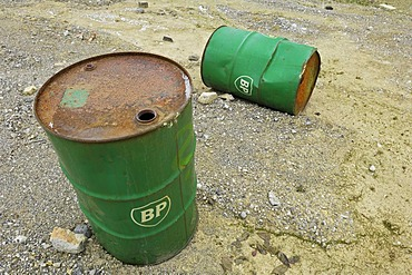 Old BP petrol barrels, Bavaria, Germany, Europe