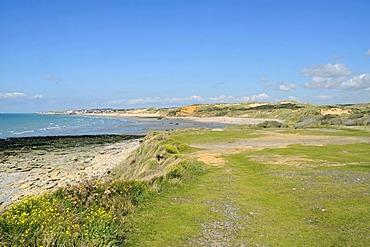 Dunes, ocean, landscape, coast, Dunes de la Slack, Wimereux, Boulogne sur Mer, Opal coast, Nord Pas de Calais, France, Europe