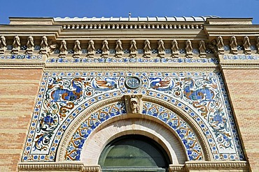 Facade, Spanish tiles, azulejos, palace, Palacio de Velazquez, Retiro, park, Madrid, Spain, Europe