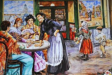 Spanish tiles, azulejos, representation of women in a restaurant, Madrid, Spain, Europe