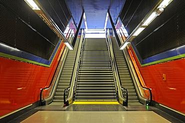 Escalator, multicoloured, deserted, Metrostation El Capricho, Madrid, Spain, Europe