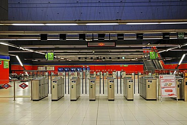 Entrance barriers, deserted, Metrostation El Capricho, Madrid, Spain, Europe