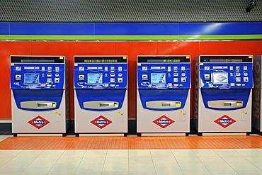 Ticket machines, Metrostation El Capricho, Madrid, Spain, Europe