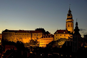 Castle, tower, night, &esk˝ Krumlov, UNESCO World Heritage Site, world cultural heritage, Czech Republic, Europe