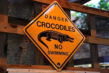 Sign, Danger crocodiles, no swimming, zoo, Bristol, England, United Kingdom, Europe