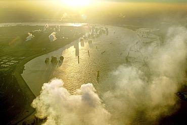 Aerial view of Rhine River flood waters, Duisburg, Ruhr Area, North Rhine-Westphalia, Germany, Europe