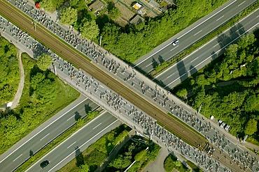 Aerial photograph, Ruhr Marathon in Wattenscheid, Essener Strasse, Sheffield-Ring, Ruhr Area, North Rhine-Westphalia, Germany, Europe