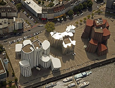 Aerial photo of the new customs building in the Rhine harbour, designed by architect Frank O. Gehry, Duesseldorf, North Rhine-Westphalia, Germany, Europe