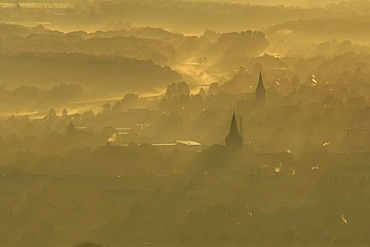 Sunrise over the city and the churches of St. Agatha and St. Josef, aerial photo, Dorsten, Ruhrgebiet, North Rhine-Westphalia, Germany, Europe