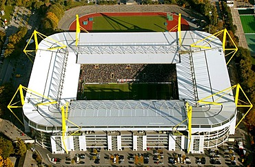 Aerial view, Westfalenstadion Stadium, BVB, Dortmund, Ruhr Area, North Rhine-Westphalia, Germany, Europe