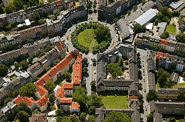Aerial photograph, Borsigplatz with tram tracks and renovated residential apartment blocks, Dortmund, Ruhr district, North Rhine-Westphalia, Germany, Europe