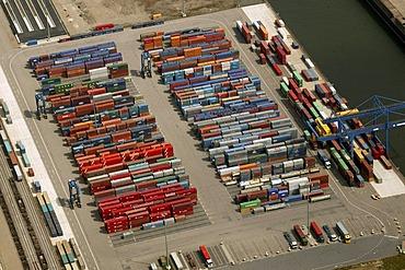 Aerial photograph of Logport Logistics Centre, Duisburg, Ruhr Area, North Rhine-Westphalia, Germany, Europe