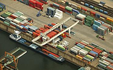 Aerial photograph of Rhein-Ruhr-Hafen container terminal, Duisburg, Ruhr Area, North Rhine-Westphalia, Germany, Europe