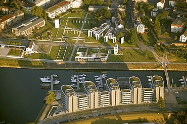Aerial photograph of Fiveboats and the Synagogue at Holzhafen, Duisburg, Ruhr Area, North Rhine-Westphalia, Germany, Europe