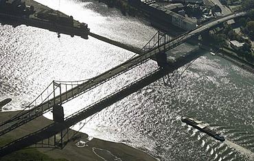 Aerial photograph of a bridge crossing the Rhine River near Duisburg-Muendelheim, North Rhine-Westphalia, Germany, Europe