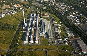 Aerial picture, Econova Aluminium Works at the Essen City Harbour, Bergeborbeck, Essen-North, Ruhr area, North Rhine-Westphalia, Germany, Europe