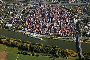 Aerial picture, Karlstadt, Bavaria, Germany, Europe