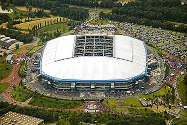 Aerial photo, Arena Auf Schalke, Schalke arena, Veltins Arena Gelsenkirchen Buer, Ruhr area, North Rhine-Westphalia, Germany, Europe