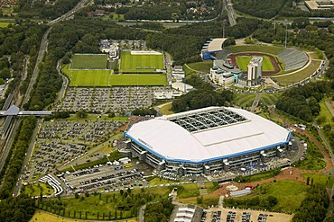 Aerial photo, parking area, Schalker pitch, Arena Auf Schalke, Schalke arena, Veltins Arena, medicos.AufSchalke Reha, Gelsenkirchen Buer, Ruhr area, North Rhine-Westphalia, Germany, Europe