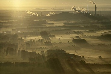 Aerial image, sunrise, early morning fog, industrial backdrop of the Scholven power plant, Scholven, Gelsenkirchen-Buer, North Rhine-Westphalia, Germany, Europe