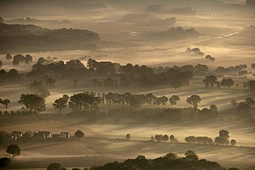 Aerial image, sunrise, early morning fog, Toensholt, Scholven, Gelsenkirchen-Buer, North Rhine-Westphalia, Germany, Europe