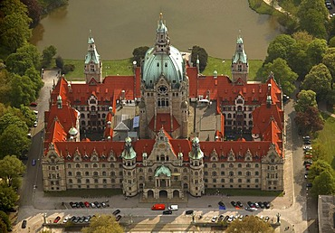 Aerial photograph, old city hall, sea, Hannover, Lower Saxony, Germany, Europe