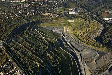 Aerial photo, Emscherbruch slag heap with horizon observatory, pit slag heap, mining waste, coal mining, landscape building, Herten, Westerholt, Ruhr area, North Rhine-Westphalia, Germany, Europe
