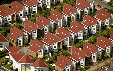 Aerial view, rows of houses, Saarn, Muehlheim, Ruhr Area, North Rhine-Westphalia, Germany, Europe