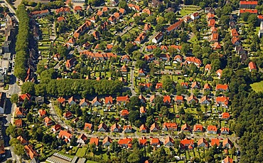 Aerial photograph, Teutoburgia, Zechensiedlung, colliery housing estate, red roofs, Boernig, Herne, Ruhr Area, Rhineland, North Rhine-Westphalie, Germany, Europe