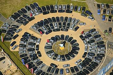 Aerial picture, Potthoff, Potti vehicle sale on Hammer Street, Bockum-Hoevel, Hamm, Ruhr area, North Rhine-Westphalia, Germany, Europe