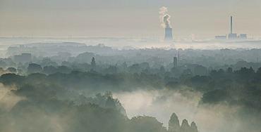 Aerial picture, Uentrop Lippe-Auen, late summer morning fog, Lippe, Datteln-Hamm Canal, east, Westfalen power plant, RWE-Power, Hamm, Ruhr area, North Rhine-Westphalia, Germany, Europe