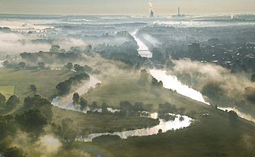 Aerial picture, Uentrop Lippe-Auen, late summer morning fog, Lippe, meander, Datteln-Hamm Canal, east, Hamm, Westfalen power plant, RWE-Power, Ruhr area, North Rhine-Westphalia, Germany, Europe