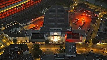 Aerial picture, night shot, Technisches Rathaus, engineering city hall, Hamm, Ruhr area, North Rhine-Westphalia, Germany, Europe