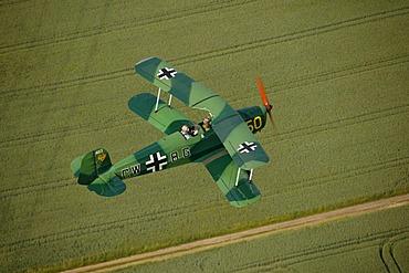 Aerial view, Buecker Jungmann, historic aeroplane, Quax-Flieger, Aviator's Society, Hamm, Ruhr Area, North Rhine-Westphalia, Germany, Europe