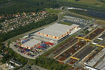 Aerial view, TrinkGut Beverage Wholesale and Logistician, Hafen Herringen, Hamm, Ruhr Area, North Rhine-Westphalia, Germany, Europe