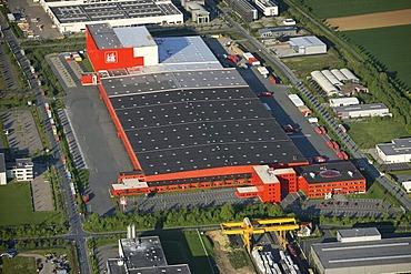 Aerial photo, discount store KIK, warehouses, main administration, Boenen, Ruhr area, North Rhine-Westphalia, Germany, Europe