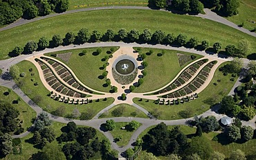 Aerial photo, baroque flower bed, garden, Rheinaue leisure park, Bonn, Rhineland, North Rhine-Westphalia, Germany, Europe